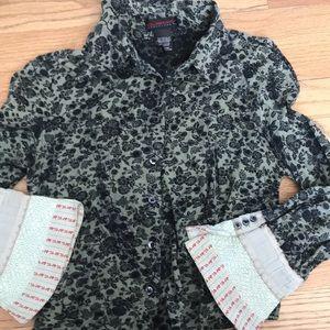 Custo button crop top shirt with detail cuff